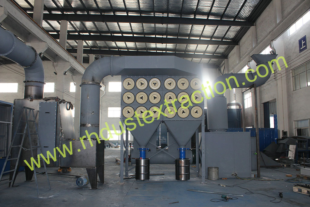 Downflow dust collector pre-isntallation in factory